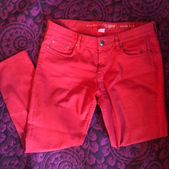 French Connection Pants - French Connection Slim Fit Coral/Red-ish Jeans